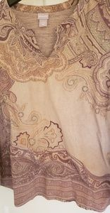 Chico's long sleeve tan & wine paisley l/s top